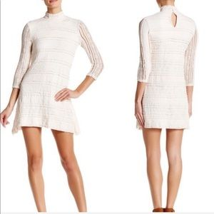 BeBop Dresses - BeBop 3/4 Length Sleeve Mock Neck Lace Dress M